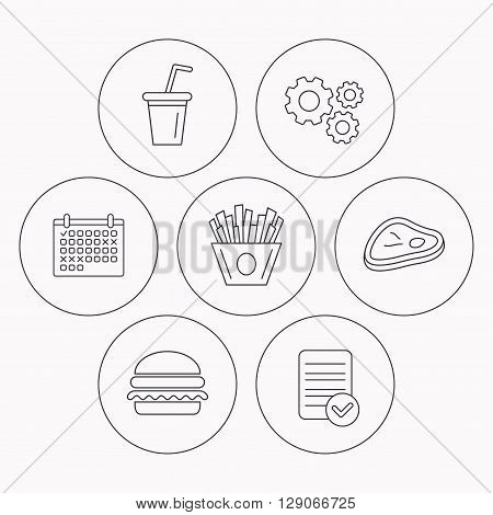 Hamburger, meat and soft drink icons. Chips fries linear sign. Check file, calendar and cogwheel icons. Vector