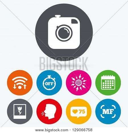 Wifi, like counter and calendar icons. Hipster retro photo camera icon. Manual focus symbols. Stopwatch timer off sign. Macro symbol. Human talk, go to web.