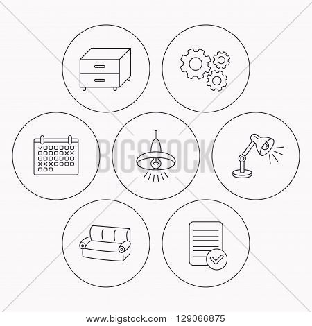 Sofa, table lamp and nightstand icons. Ceiling lamp linear sign. Check file, calendar and cogwheel icons. Vector