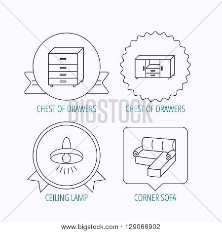 Corner sofa, ceiling lamp and chest of drawers icons. Furniture linear signs. Award medal, star label and speech bubble designs. Vector