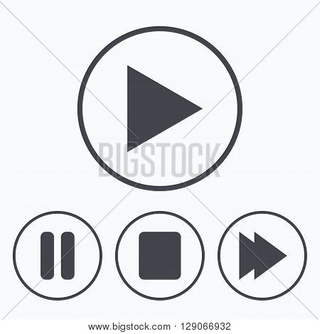 Player navigation icons. Play, stop and pause signs. Next song symbol. Icons in circles.