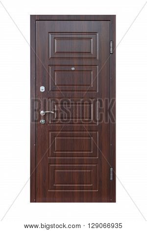 Closed wenge wooden door isolated at white background. Image of a closed door. Entrance to apartment. Dark brown wood, designed and textured front door with lock and handle. Modern Door design.
