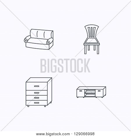 Sofa, chair and chest of drawers icons. TV table linear sign. Flat linear icons on white background. Vector