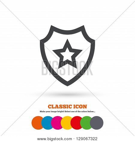 Shield with star icon. Favorite protection symbol. Classic flat icon. Colored circles.