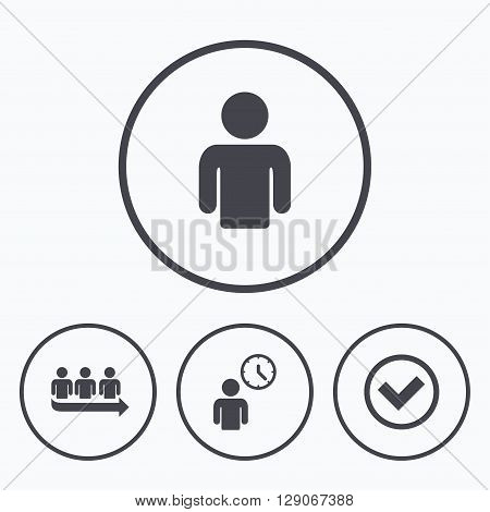 Queue icon. Person waiting sign. Check or Tick and time clock symbols. Icons in circles.