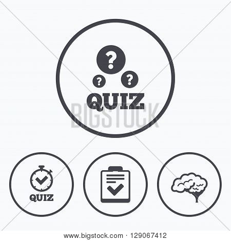Quiz icons. Human brain think. Checklist and stopwatch timer symbol. Survey poll or questionnaire feedback form sign. Icons in circles.