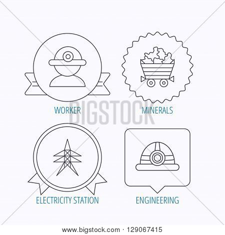 Worker, minerals and engineering helm icons. Electricity station linear sign. Award medal, star label and speech bubble designs. Vector