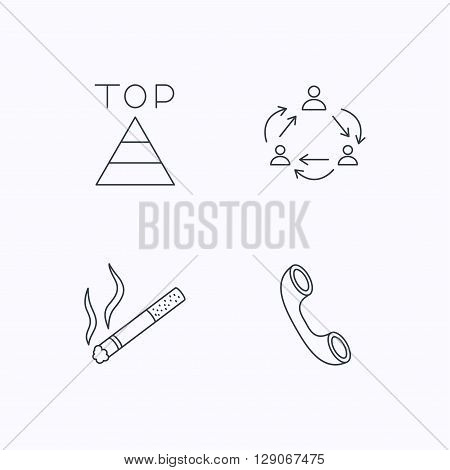 Teamwork, smoking and phone call icons. Top linear sign. Flat linear icons on white background. Vector