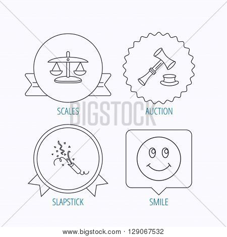 Scales of justice, auction hammer and slapstick icons. Smiling face linear sign. Award medal, star label and speech bubble designs. Vector