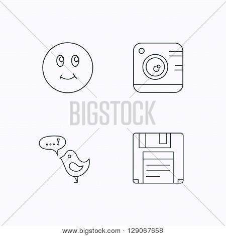 Photo camera, floppy disk and message icons. Smiling face linear sign. Flat linear icons on white background. Vector