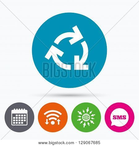 Wifi, Sms and calendar icons. Recycling sign icon. Reuse or reduce symbol.. Go to web globe.