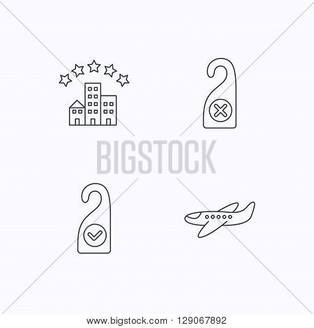 Hotel, airplane and do not disturb icons. Clean room linear sign. Flat linear icons on white background. Vector