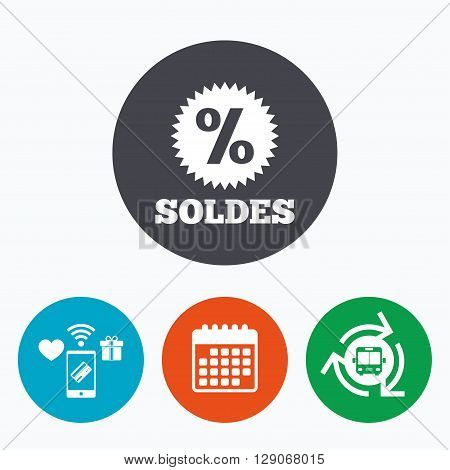 Soldes - Sale in French sign icon. Star with percentage symbol. Mobile payments, calendar and wifi icons. Bus shuttle.