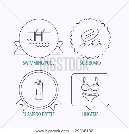 Surfboard, swimming pool and lingerie icons. Shampoo linear sign. Award medal, star label and speech bubble designs. Vector