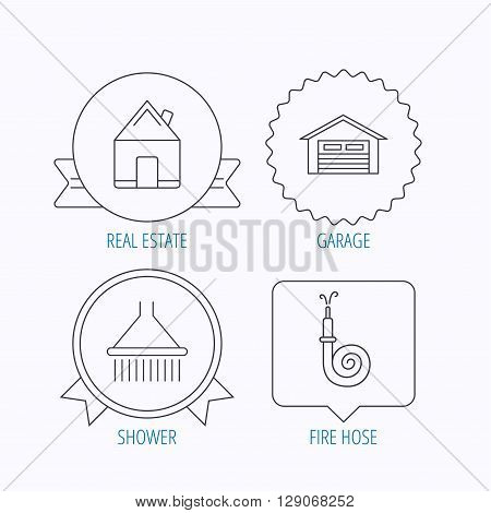 Real estate, garage and shower icons. Fire hose linear sign. Award medal, star label and speech bubble designs. Vector