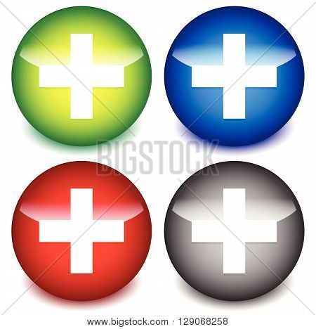 Plus, Cross Icons For Healthcare, First-aid Concepts