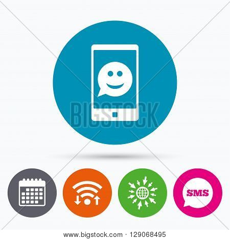 Wifi, Sms and calendar icons. Selfie smile face sign icon. Self photo symbol. Smiley speech bubble. Go to web globe.