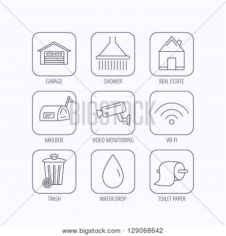 Wi-fi, video monitoring and real estate icons. Toilet paper, shower and water drop linear signs. Trash, garage flat line icons. Flat linear icons in squares on white background. Vector