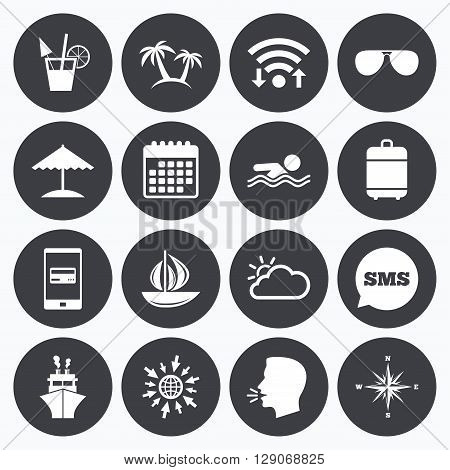 Wifi, calendar and mobile payments. Cruise trip, ship and yacht icons. Travel, cocktails and palm trees signs. Sunglasses, windrose and swimming symbols. Sms speech bubble, go to web symbols.