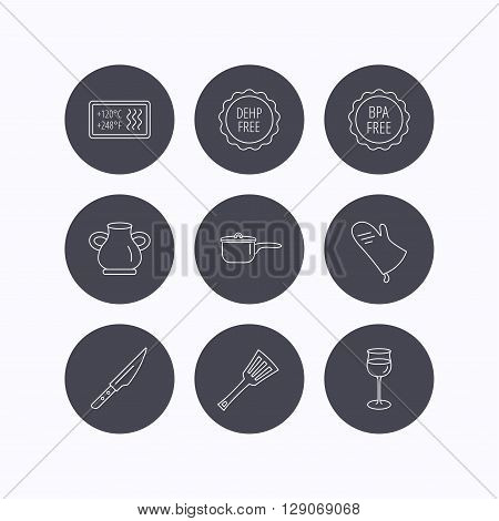 Saucepan, potholder and wineglass icons. Kitchen knife, utensils and vase linear signs. Heat-resistant, BPA, DEHP free icons. Flat icons in circle buttons on white background. Vector