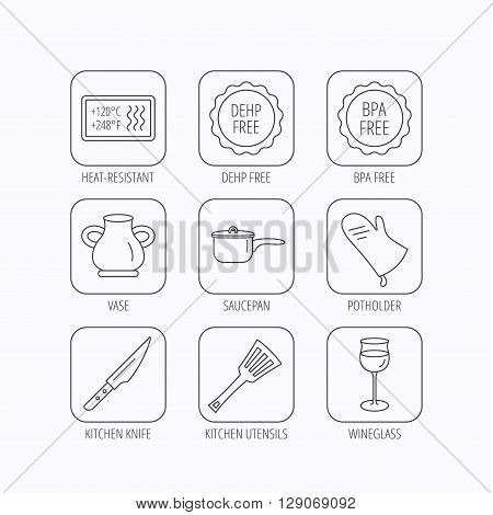 Saucepan, potholder and wineglass icons. Kitchen knife, utensils and vase linear signs. Heat-resistant, BPA, DEHP free icons. Flat linear icons in squares on white background. Vector
