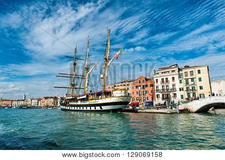 VENICE, ITALY - 17 OCTOBER 2015: View of the historic barquentine the Palinuro moored in Venice, Italy, now used as a training ship by the Italian navy. October 17 2015.