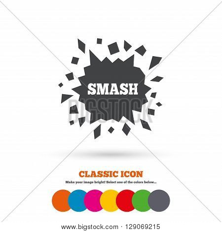 Cracked hole icon. Smash or break symbol. Classic flat icon. Colored circles.