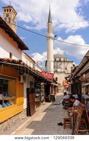 SARAJEVO BOSNIA AND HERZEGOVINA - SEPTEMBER 4 2009: Gazi Husrev-beg mosque and minaret as viewed from the Bascarsija market