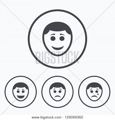 Human smile face icons. Happy, sad, cry signs. Happy smiley chat symbol. Sadness depression and crying signs. Icons in circles.