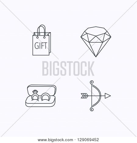 Brilliant, gift and wedding rings icons. Bow and arrow linear signs. Flat linear icons on white background. Vector