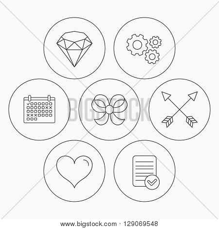 Love heart, brilliant and bow-knot icons. Arrows linear signs. Check file, calendar and cogwheel icons. Vector