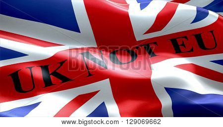 Brexit United Kingdom England Flag With Word Uk Not Eu