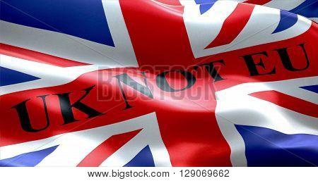 Brexit United Kingdom England Flag With Word Uk Not Eu