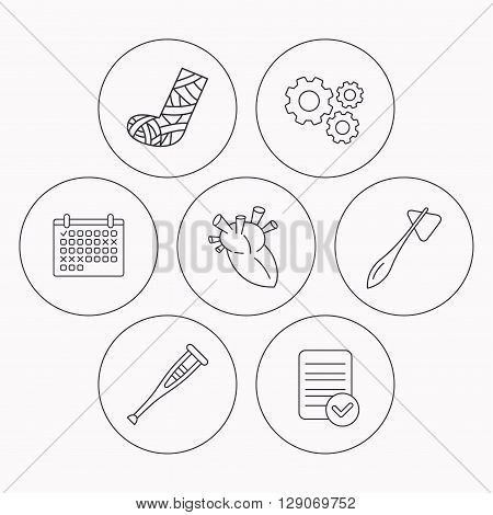 Gypsum, heart and medical hammer icons. Crutch linear sign. Check file, calendar and cogwheel icons. Vector