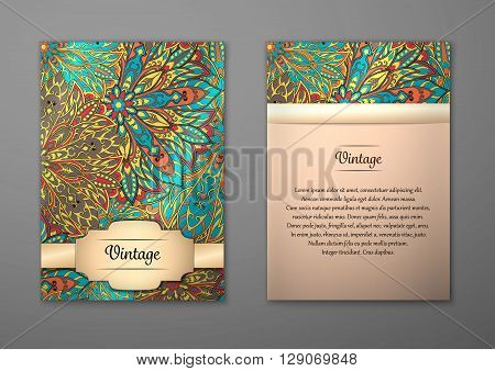 Vintage cards with Floral mandala pattern and ornaments. Vector Flyer oriental design Layout template size A5. Islam Arabic Indian ottoman motifs. Front page and back page. Easy to use and edit.