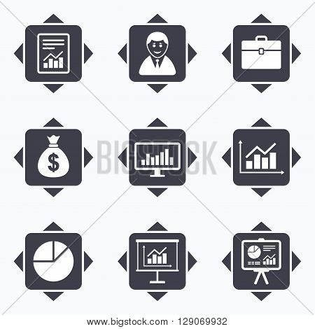 Icons with direction arrows. Statistics, accounting icons. Charts, presentation and pie chart signs. Analysis, report and business case symbols. Square buttons.