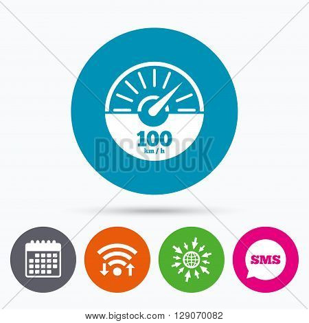 Wifi, Sms and calendar icons. Tachometer sign icon. 100 km per hour revolution-counter symbol. Car speedometer performance. Go to web globe.