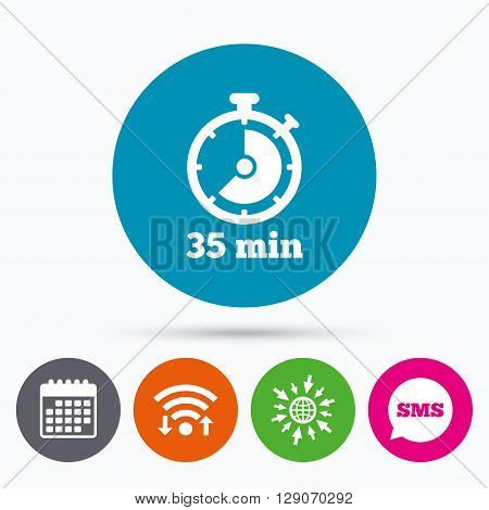 Wifi, Sms and calendar icons. Timer sign icon. 35 minutes stopwatch symbol. Go to web globe.