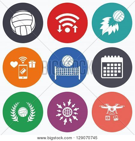 Wifi, mobile payments and drones icons. Volleyball and net icons. Winner award laurel wreath symbols. Fireball and beach sport symbol. Calendar symbol.