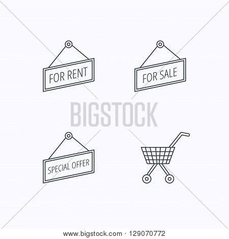 Shopping cart, for rent and special offer icons. For sale linear sign. Flat linear icons on white background. Vector