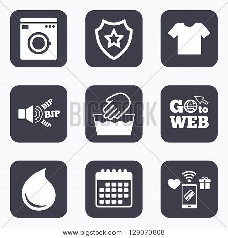 Mobile payments, wifi and calendar icons. Wash machine icon. Hand wash. T-shirt clothes symbol. Laundry washhouse and water drop signs. Not machine washable. Go to web symbol.