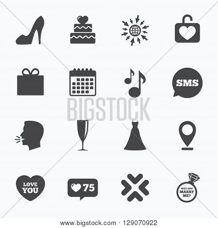 Calendar, go to web and like counter. Wedding, engagement icons. Cake with heart, gift box and brilliant signs. Dress, shoes and musical notes symbols. Sms speech bubble, talk symbols.