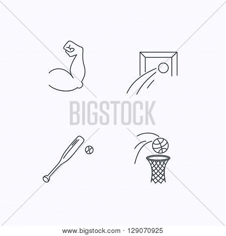 Baseball, football and basketball icons. Biceps linear sign. Flat linear icons on white background. Vector