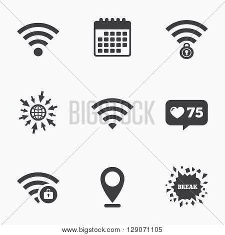 Calendar, like counter and go to web icons. Wifi Wireless Network icons. Wi-fi zone locked symbols. Password protected Wi-fi sign. Location pointer.