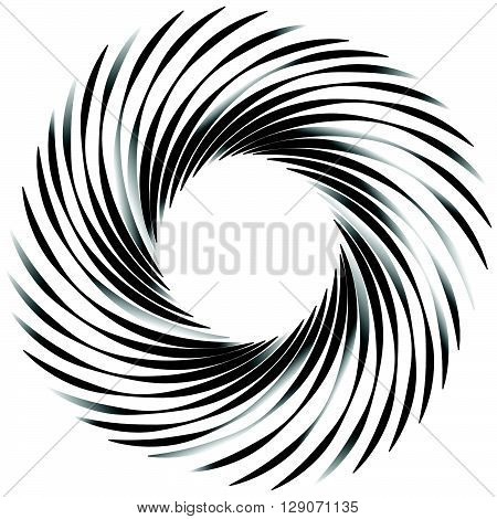 Circular Abstract Motif, Element, Shape. Monochrome Geometric Element Isolated.