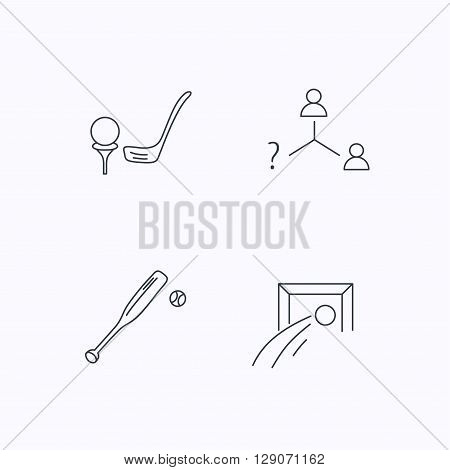 Football, golf and baseball icons. Vacancy linear sign. Flat linear icons on white background. Vector