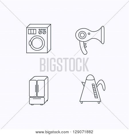 Washing machine, teapot and hair-dryer icons. American style refrigerator linear sign. Flat linear icons on white background. Vector