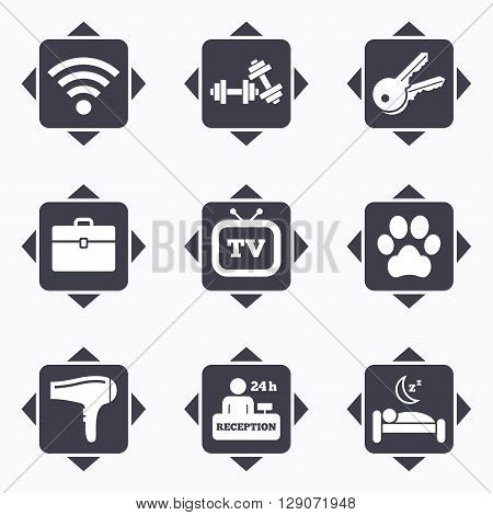 Icons with direction arrows. Hotel, apartment service icons. Wi-fi internet. Reception, pets allowed and hairdryer symbols. Square buttons.