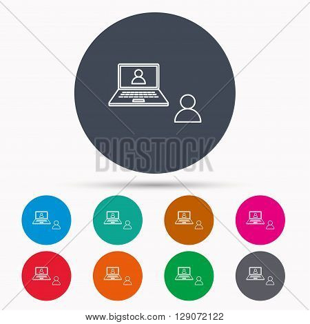 Video chat icon. Webcam chatting sign. Web conference symbol. Icons in colour circle buttons. Vector