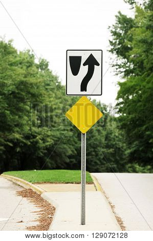 divided highway sign in the street for design